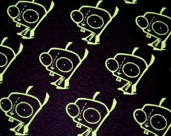 Rare HTF Gir Invader Zim Gir Black Fabric Diy Punk BTY