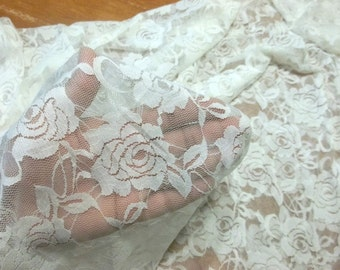 ROSE lovely ivory white lace nylon spandex soft stretch fabric BTY avail in 6 colors