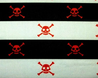 DANGER pirate poison red skull black white stripe fabric BTY avail in 2 colors