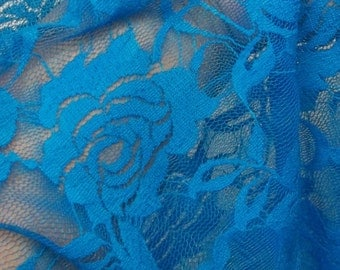 BRIGHT beautiful blue rose sexy soft stretch lace fabric BTY, available in 6 colors