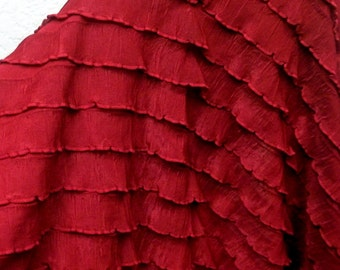 "1"" Red Ruffle Stretch Fabric BTY"