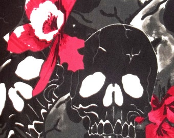 AMAZING Black White Monochrome Skull Flower Fabric BTY