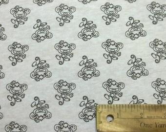 Monkey knit fabric etsy for Baby monkey fabric prints