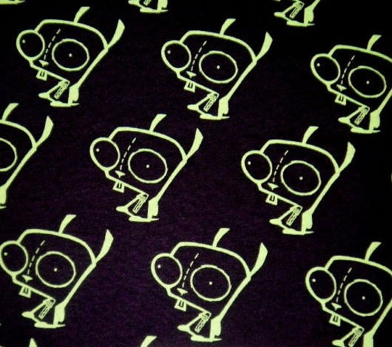 Rare HTF Gir Invader Zim Gir Black Fabric Diy Punk BTY