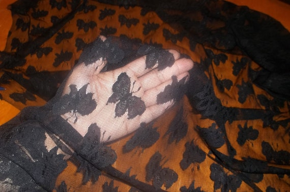 BEAUTIFUL unique black butterfly mesh lace stretch fabric BTY