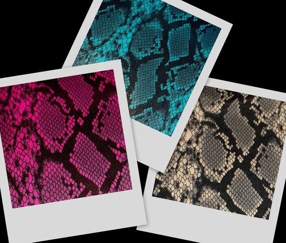SNAKE very cute colored designs w/ semi-shiny clear dot finish fabric BTY, in 3 colors