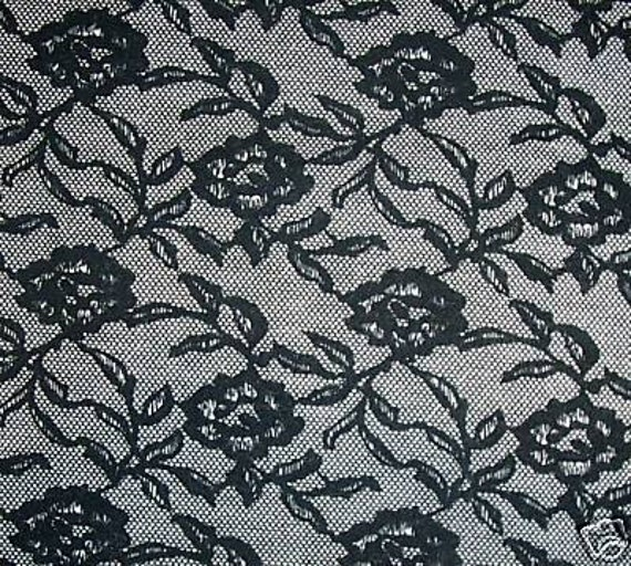 goth black rose lacelike jersey fabric by fabricjunkeez