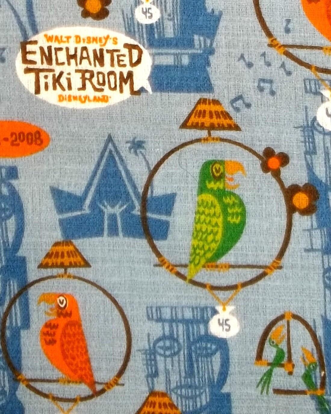 Rare Tiki Room Disneyland Collectible Parrot Hawaiin Fabric