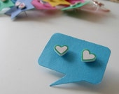tiny hand-drawn heart stud/post earrings - mint green outline