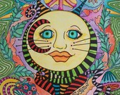Cat Moon, Singleton Hippie Art, psychedlic cat, psychedelic moon