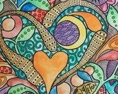 Neon Love Crush, Singleton Hippie Art ,Original, orange crush, heart art, peace sign art, hippie home decor, trippy art, love art,
