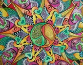 Psychedelic Hippie Mandala, Together We Make Peace, yin yang peace sign, Singleton  Art Original Mandala