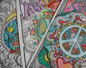 Hippie Coloring Pages, Hippie Posters, Imagine Peace, Believe, Hippie House, Coloring posters, Dorm Posters, Retro Art, Hippie Art, Set of 3