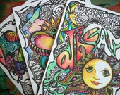 Hippie Posters, Coloring Posters, Summer Love, poster collection, set of 3, Hippie Art, Summer Art, Teen Posters, Dorm Art, Retro Posters,