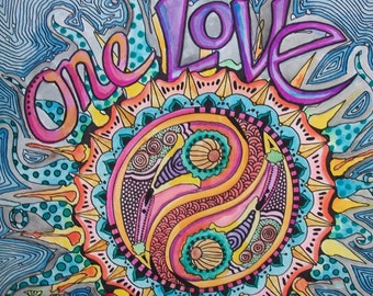 One Love, Singleton Art, Hippie Art Original, Love Mandala, Yin yang, yen yang, zen mandala, Love Art, Hippie love art, word art, wall decor