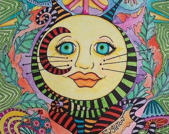 Cat Moon, Singleton Hippie Art, psychedlic cat, psychedelic moon
