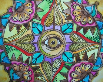 All Seeing Eye, Singleton Hippie Art ,Mandala, Third Eye art, peace love art, meditation mandala, evil eye, hippie home decor, psychic art