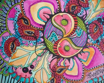 The Psychedelic Storm, Singleton Hippie Art, Original, hippie art, peace signs, heart art, psychedelia