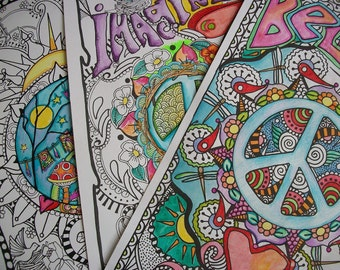 Party Pack of Hippie Coloring Pages, The Six Pack Collection, Singleton Hippie Art