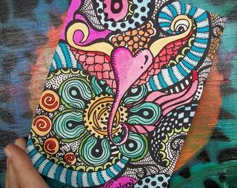 A Little Heart, Singleton Hippie Art, Original , heart art, small art, love art, vaentine art