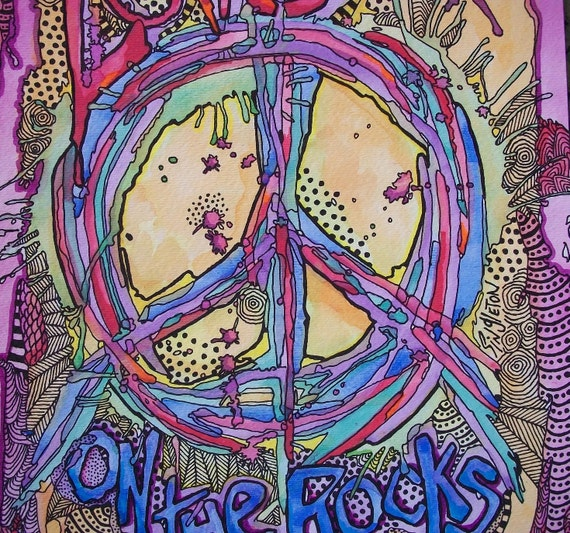 Singleton Hippie Art, Peace Love on the Rocks, The Original