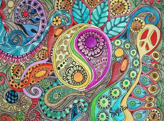 The Color of Drums, Singleton Art,  Hippie Art,  yen yang, yin yang, peace sign, fractal art, zentangle style, hippie decor, vibrant art,
