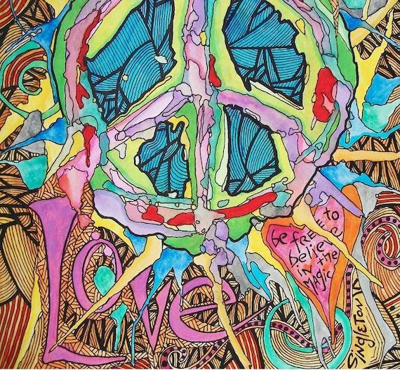 Peace Love Art, Singleton hippie Art, Peace Sign, Hippie Art, wild love, hippie peace sign, peace poster, hippie poster, Another Wild Love