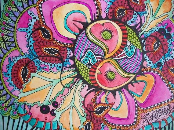 The Psychedelic Storm, Singleton Hippie Art, Original, hippie art, peace signs, heart art, psychedelia