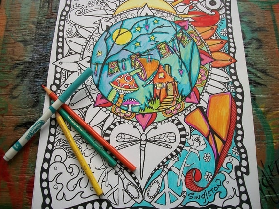 Hippie Coloring  Pages, Set of 2,Home is Where your Hippie is, Singleton Art, Hippie Posters, Hippir house, housewarming, Home Decor