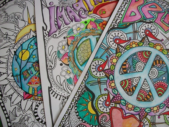 Party pack of hippie coloring pages the six pack collection for Hippie coloring book pages
