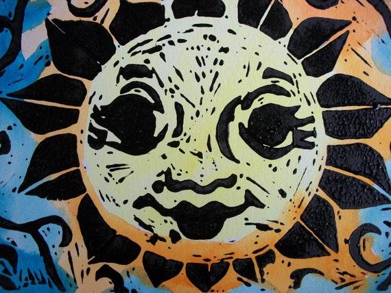 Original linocut, hand pulled print, Sunshine,Sun Art, Singleton Hippie Art, sunflower art, home decor, sunflower, sunny yellow
