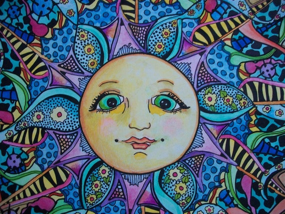 The Psychedelic Summer, Singleton Hippie Art Original, Psychedelic Sun