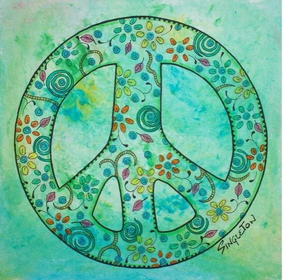 Peace is a Paisley Dress, Singleton Hippie Art, The Print