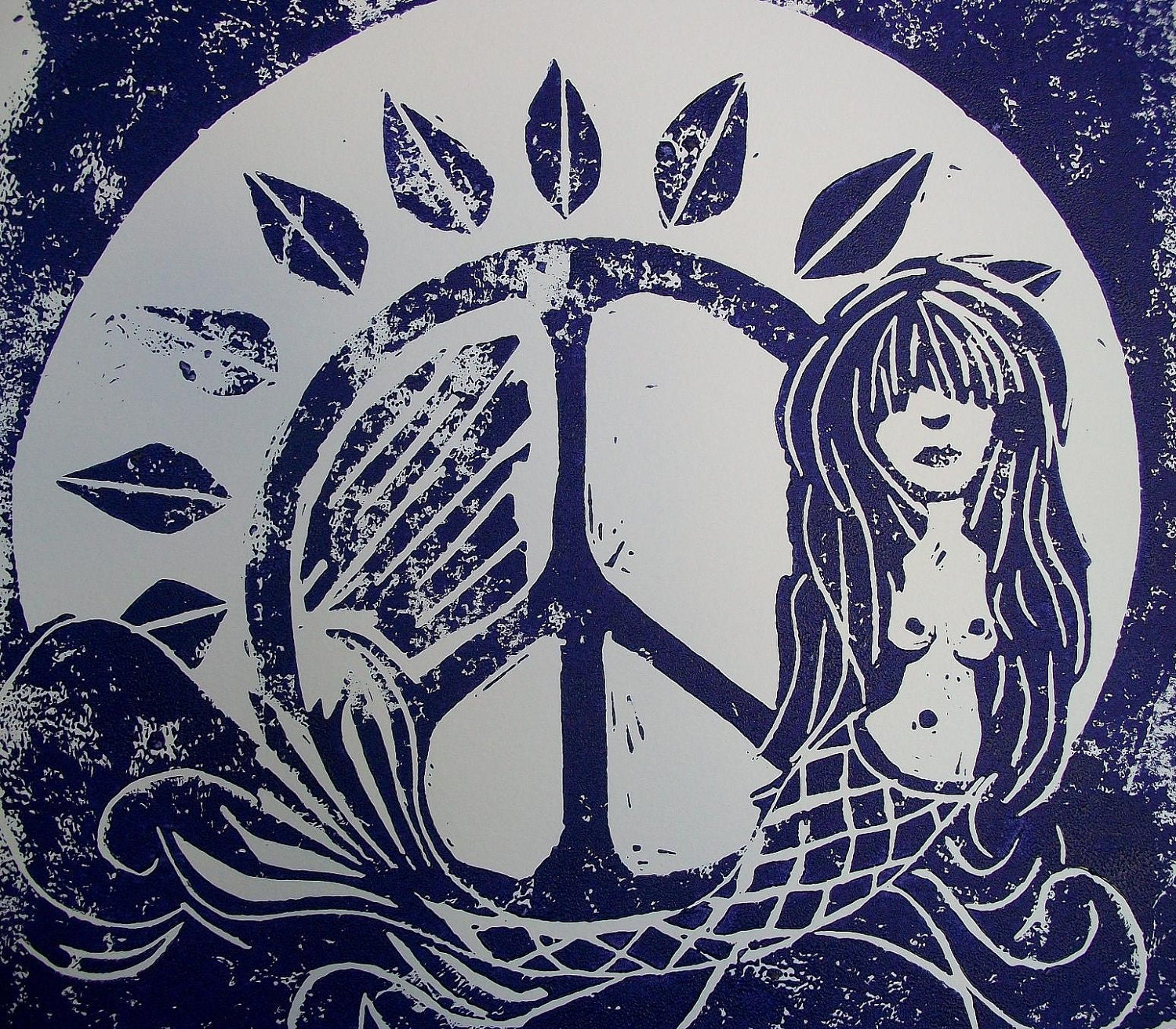 In the Deep Purple Sea Singleton Hippie Art by justgivemepeace