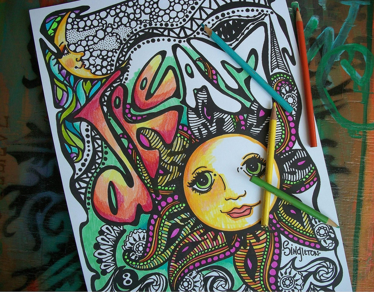 Hippie Coloring Pages Dream Set Of 2 Posters Singleton