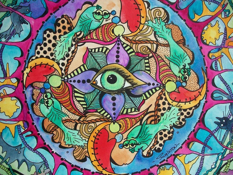 The Psychedelic Promise Singleton Hippie Art Original