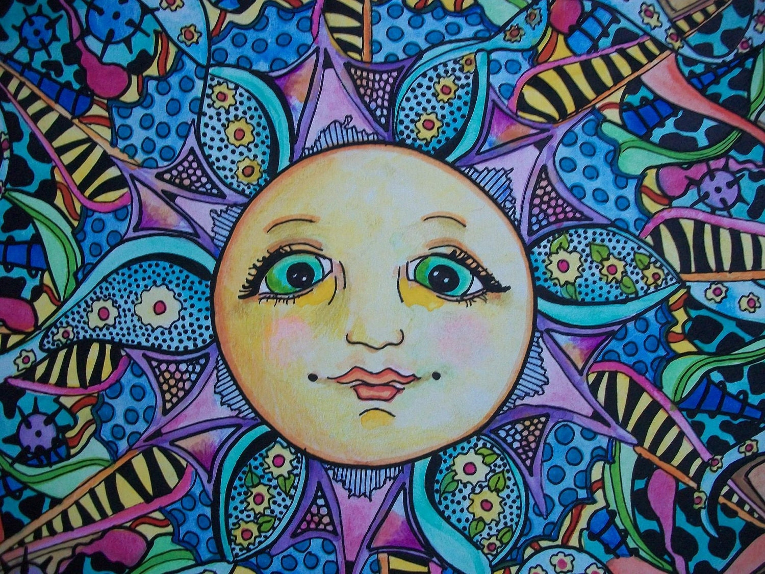 The Psychedelic Summer Singleton Hippie Art by justgivemepeace