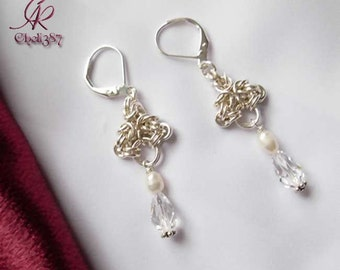 Freshwater pearls and Swarovski crystal Sterling silver earrings