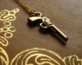 Annie Oakley Necklace - golden revolver charm, 14k gold fill chain and clasp