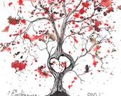 Endearing Love Tree, ORIGINAL 5x7,  Watercolor