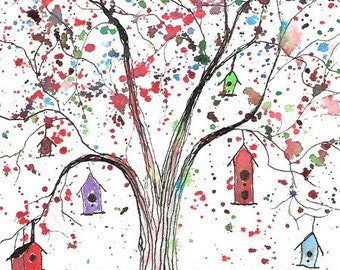 Tree Houses, 4 x 6 PRINT of watercolor and ink illustration, signed