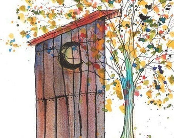 Outhouse Tree Print, 5 x 7  by SR Ozbirn