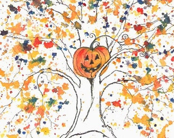 Hallow Tree, ACEO PRINT, signed