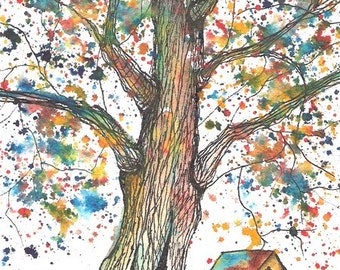 Black River Tree, ACEO Print, signed
