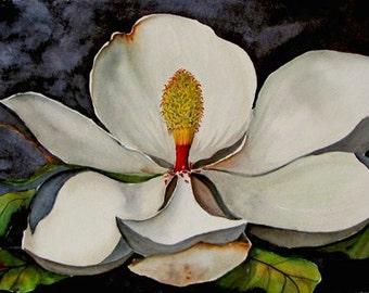 Beale Magnolia, ORIGINAL Watercolor, 18 x 24, Framed