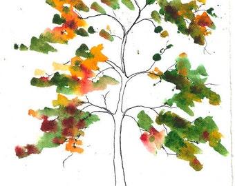Scott, Tree, ORIGINAL 5 x 5.5 watercolor