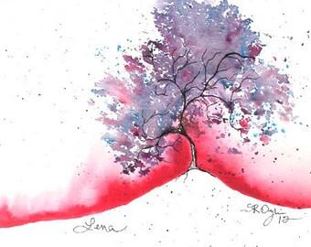 "Lena Tree, ACEO, Print of watercolor, 2.5"" x 3.5"""