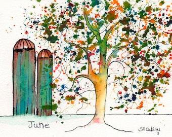 "June Tree, ACEO, Print of watercolor, 2.5"" x 3.5"""