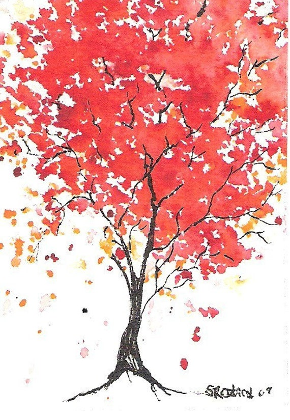 Jolly Red Maple, Tree, ACEO, PRINT, signed