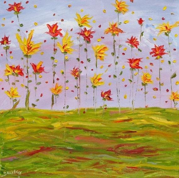 SALE, Bloom, ORIGINAL Oil painting, 18 x 18 was 145 dollars